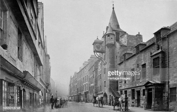 Royal Mile, Edinburgh, mid 19th century. View showing the Tollbooth on the right. Photograph from a Royal Family album in Osborne House, Isle of...