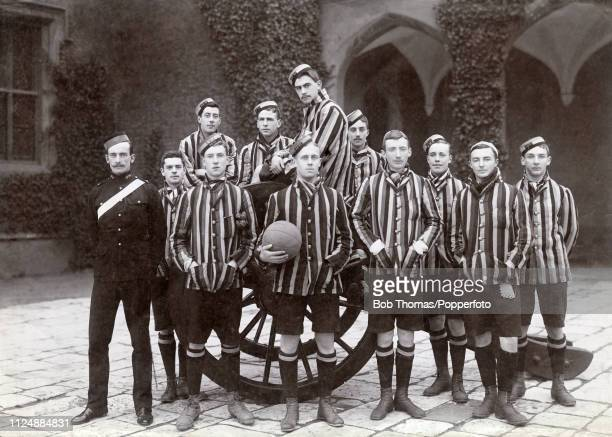 Royal Military Academy First XI football team and their coach at Woolwich in England circa 1897