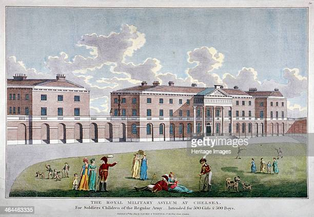 Royal Military Asylum Chelsea London 1805 View of the Royal Military Asylum Chelsea with soldiers women and children outside The Asylum was opened as...