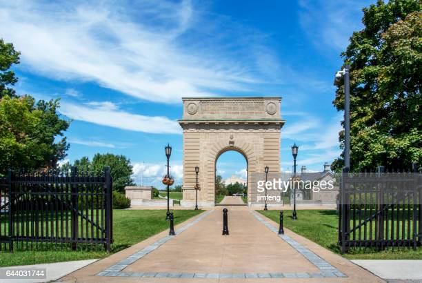 royal military college memorial arch - kingston ontario stock photos and pictures