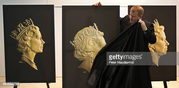 Royal Mint Chief Executive Adam Lawrence unveils the new coinage portrait of Queen Elizabeth II at The National Portrait Gallery on March 2 2015 in...
