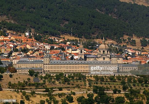 Royal Monastery of San Lorenzo de El Escorial at foot of the Sierra de Guadarrama mountain range.