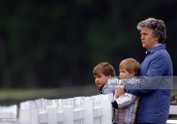 Royal Nanny Olga Powell With Prince William And Prince Harry At A Polo Match In Windsor