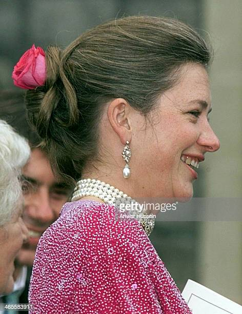 Royal nanny Tiggy LeggeBourke attends the wedding of Prince Edward and Sophie RhysJones at St George's Chapel on June 19 1999 in Windsor England