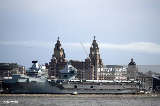 Royal Navy aircraft carrier, HMS Prince of Wales, berths at Liverpool's cruise terrminal on February 29, 2020 in Liverpool, England. The Royal Navy's...