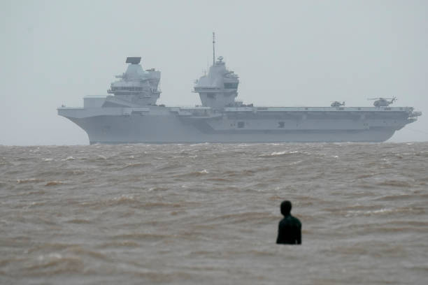 GBR: Royal Navy Aircraft Carrier HMS Prince of Wales Arrives In Liverpool