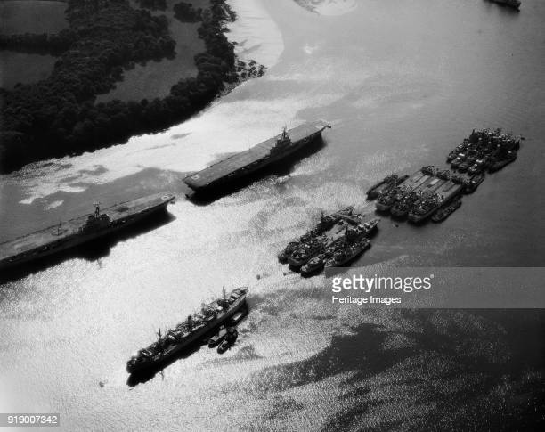Royal Navy aircraft carriers and other military ships on the River Tamar Plymouth Devon 1959