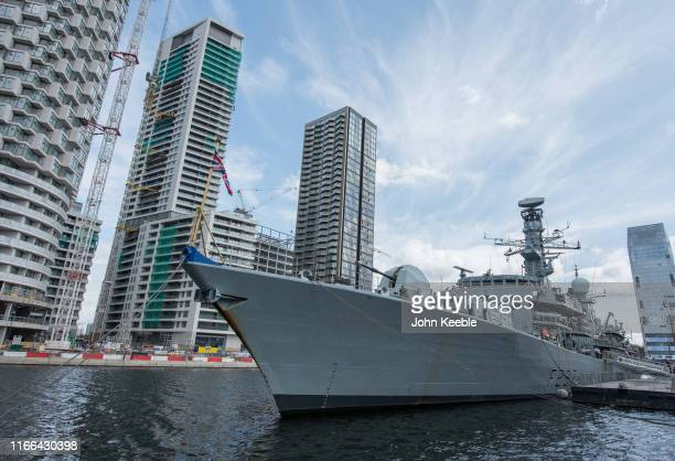 Royal Navy frigate HMS Westminster Type 23 DukeClass antisubmarine ship docked at Thames Quay South Dock on the Isle of Dogs is open to the public...