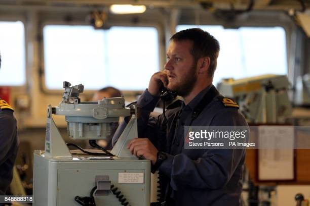 Royal Navy lieutenant Martin Shaw on the Bridge of HMS Bulwark during a joint naval exercise with French forces off the coast of Toulon France