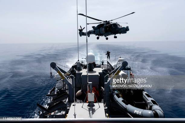 A Royal Navy Lynx helicopter takes part in the Multinational CIMIC Exercise ARGONAUT 2019 Search and Rescue Operations a rescue drill in which the...