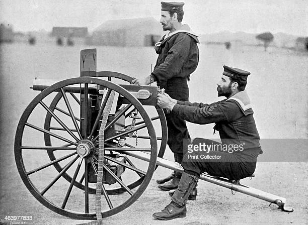 Royal Navy Maxim gun practice at Whale island Portsmouth Hampshire 1896 A print from The Navy and Army Illustrated 17th January 1896
