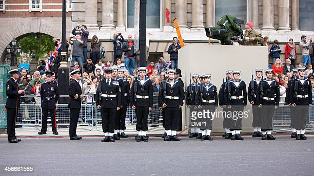 royal navy on parade at queen's diamond jubilee state procession - royal navy stock pictures, royalty-free photos & images