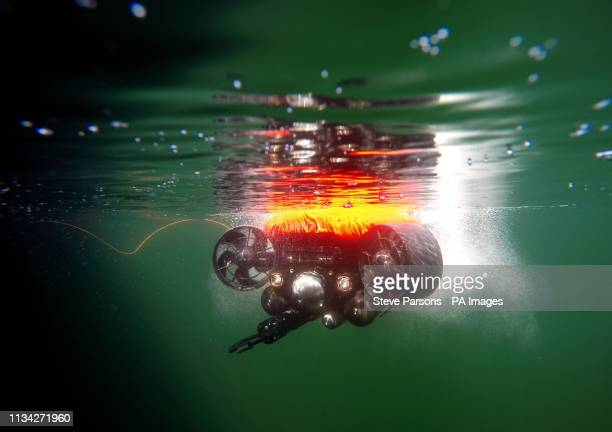 Royal Navy personel demonstrated their underwater drone during a visit to the Portsdown Technology Park in Portsmouth