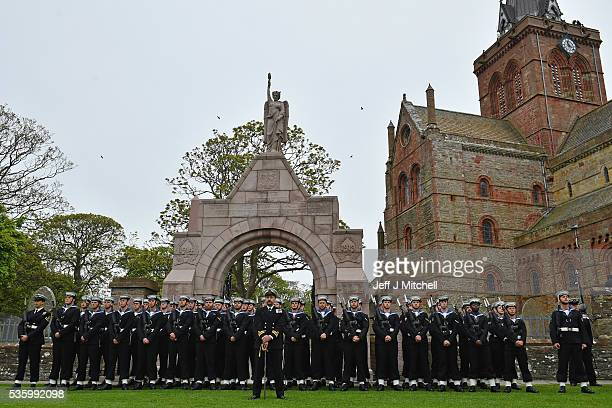 Royal Navy personnel attend the 100th anniversary commemorations for the Battle of Jutland at St Magnus Cathedral on May 31 2016 in Kirkwall Scotland...