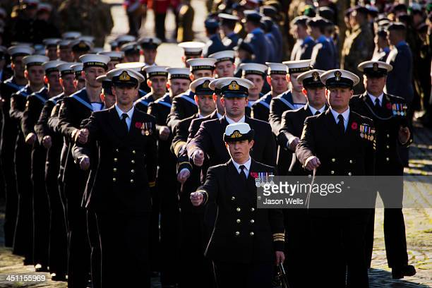 Royal Navy personnel marching at the Service of Remembrance at The Cenotaph, St George's Hall, Liverpool .