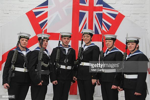 Royal Navy recruits Charlotte Craig, Daniel Wright, Mike Ellsbury, Sam Richards, Vicky Reynolds and Nicola Morris pose for a group picture prior to...