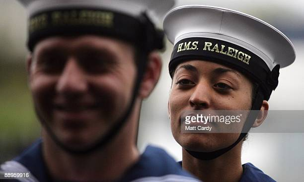 Royal Navy recruits line up as they wait to march to their passing out parade at the training establishment HMS Raleigh on the last day of their...