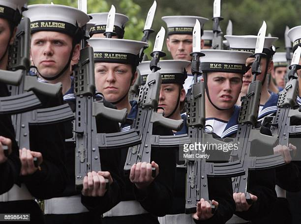 Royal Navy recruits Mike Ellsbury, Vicky Reynolds, Nicola Morris and Daniel Wright, wait to march to their passing out parade at the training...
