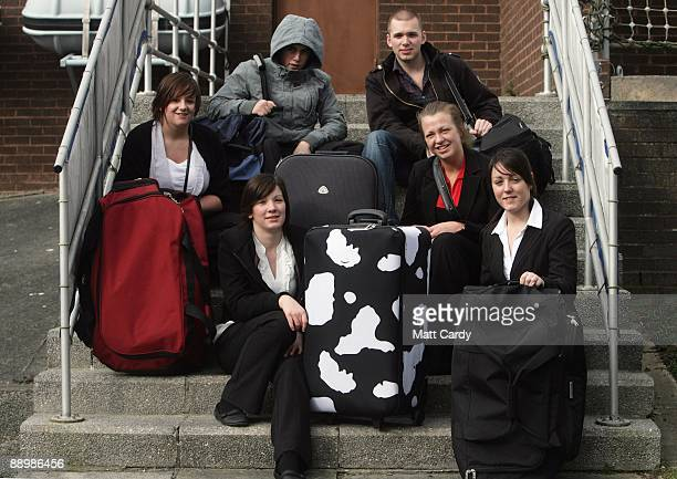Royal Navy recruits Nicola Morris, Daniel Wright, Charlotte Craig, Mike Ellsbury, Vicky Reynolds and Sam Richards pose for a group picture following...