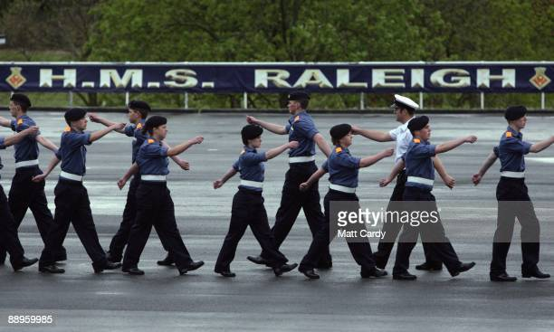 Royal Navy recruits practice their marching for their passing out parade at the training establishment HMS Raleigh on the final day of their initial...