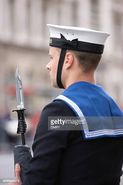 royal navy sailor on duty at the queen's diamond jubilee - royal navy stock pictures, royalty-free photos & images