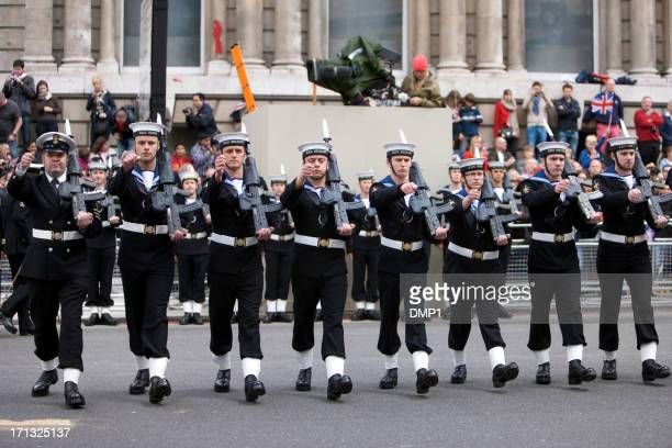 royal navy sailors at the queen's diamond jubilee - royal navy stock pictures, royalty-free photos & images