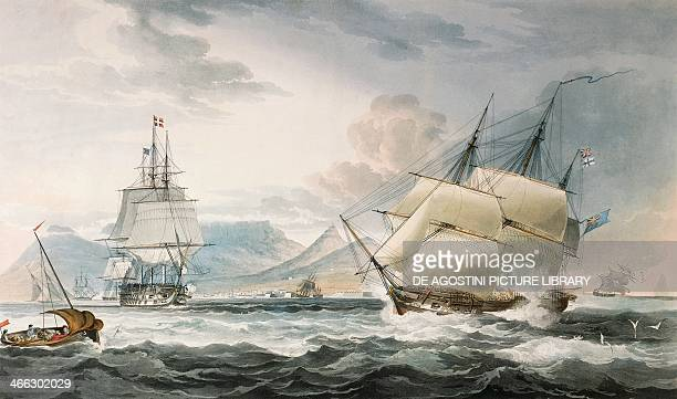 Royal Navy ships off the Cape of Good Hope Table Bay colour engraving from a painting by William John Huggins 19th century