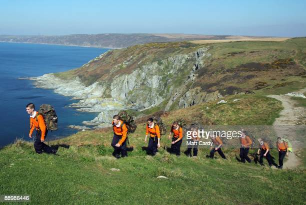 Royal Navy take part in team-building orienteering exercise along Rame Head close to the training establishment HMS Raleigh during the third week of...