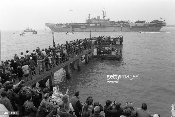 Royal Navy task force set sail for the Falklands following the invasion by Argentine forces Our Picture Shows HMS Hermes flag shipof the task force...