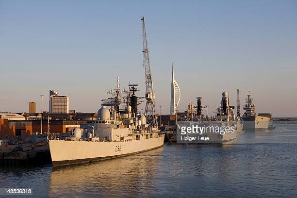 royal navy warships and spinnaker tower. - royal navy stock pictures, royalty-free photos & images