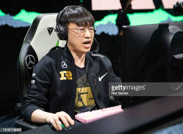 """Royal Never Give Up's Li """"Xiaohu"""" Yuan-Hao at the 2021 MSI annual League of Legends Rumble Stage: Day 5 on May 18, 2021 in Reykjavik, Iceland."""