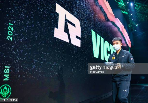 """Royal Never Give Up's Yan """"Wei"""" Yang-Wei at the 2021 MSI annual League of Legends tournament on May 9, 2021 in Reykjavik, Iceland."""
