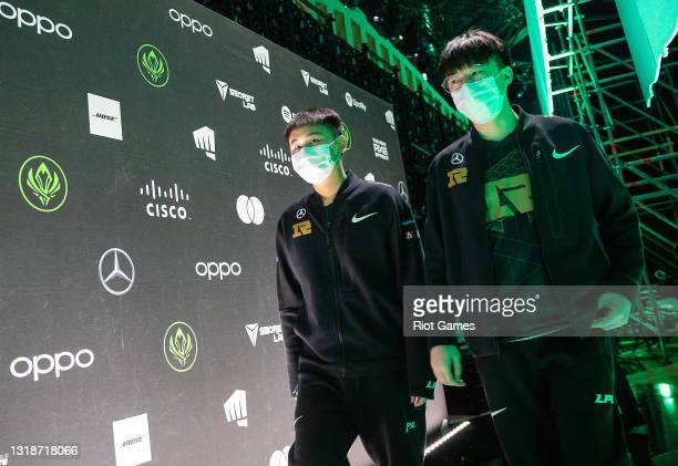 """Royal Never Give Up's Yan """"Wei"""" Yang-Wei, left, and Li """"Xiaohu"""" Yuan-Hao at the 2021 MSI annual League of Legends Rumble Stage: Day 5 on May 18, 2021..."""