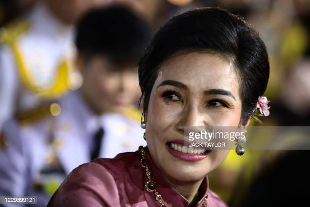 Royal noble consort Sineenat Bilaskalayani, also known as Sineenat Wongvajirapakdi, smiles as Thailand's King Maha Vajiralongkorn and Queen Suthida...