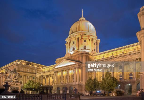 royal palace at the blur hour, budapest, hungary - royal palace budapest stock pictures, royalty-free photos & images