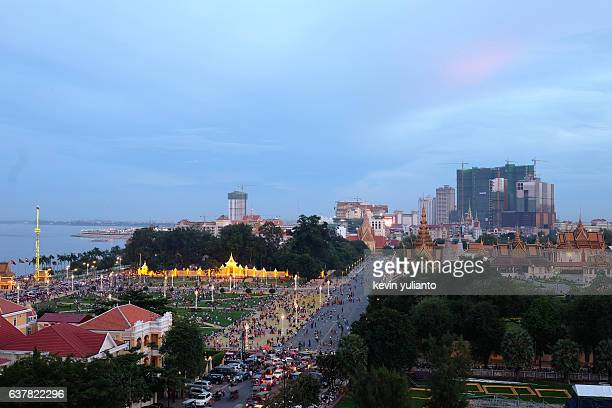 Royal Palace Complex and Phnom Penh Cityscape at Dusk
