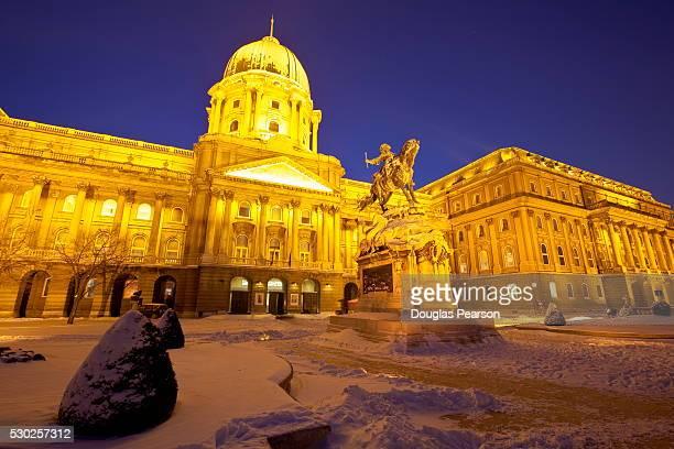 Royal Palace illuminated on a winters night, Castle Hill, Budapest, Hungary, Europe