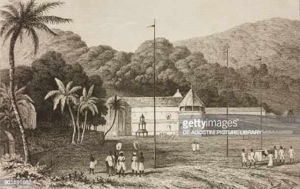 Royal Palace in Kandy Ceylon engraving by Lemaitre from Japon IndoChine Empire Birman Sima Annam Peninsule Malaise etc Ceylan by AdolphePhilibert...