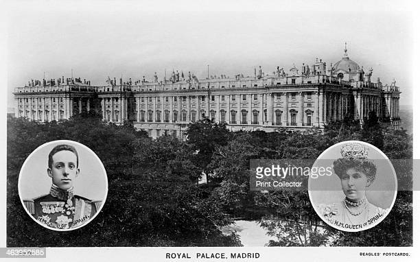 Royal Palace Madrid Spain early 20th century With portraits of King Alfonso XIII of Spain and his Queen Consort Victoria Eugenie of Battenberg a...