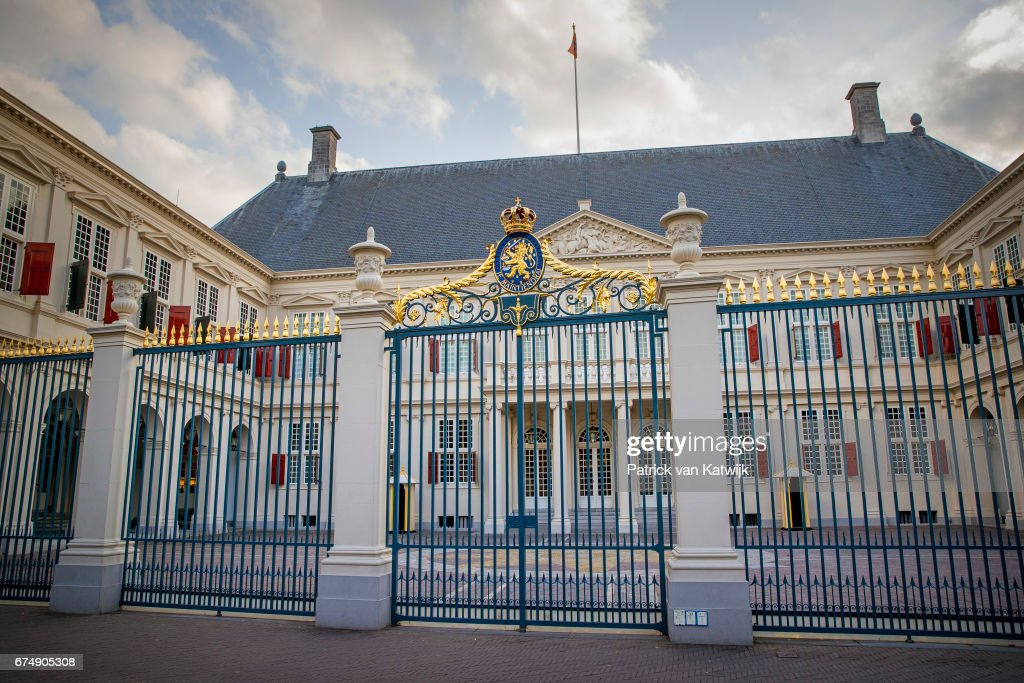 Royal Palace Noordeinde at the evening of the private birthday party of King Willem-Alexander that takes place at the Royal Stables in the garden of the palace on April 29, 2017 in The Hague, Netherlands.