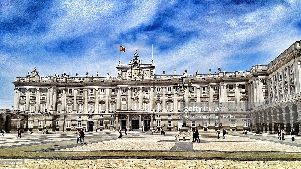 Royal Palace Of Madrid Against Cloudy Sky : Stock Photo