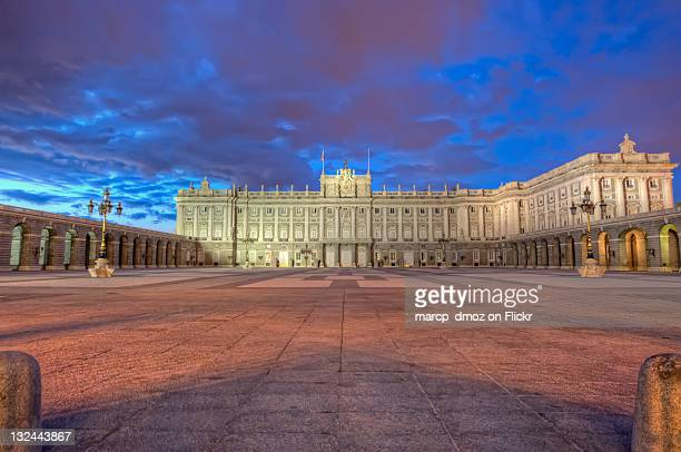 Royal palace of madrid at blue hour