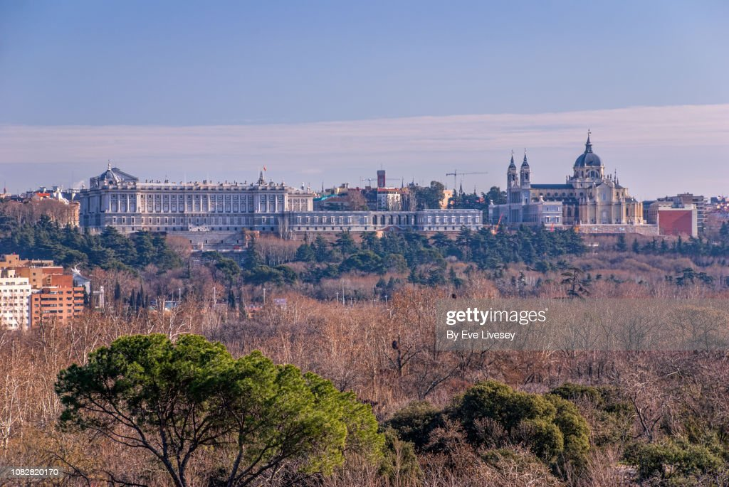 Royal Palace of Madrid & the Almudena Cathedral : ストックフォト