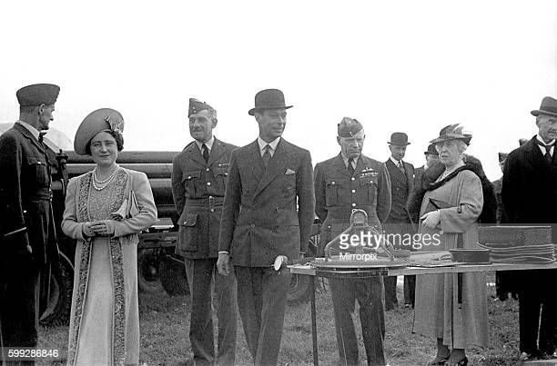 Royal Party at Hook. Balloon Barrage with the King and Queen and Prime Minister Neville Chamberlain in attendance. April 1939