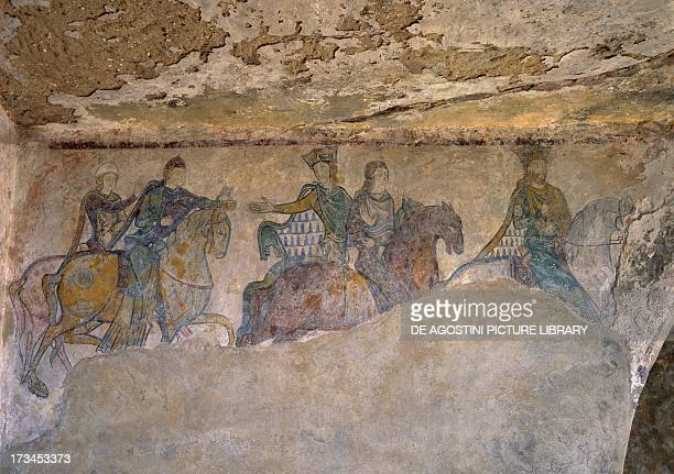 Royal procession Giovanni Senza Terra his wife Isabella of Angouleme Eleanor of Aquitaine and two Squires fresco Chapel of St Radegund Chinon Centre...