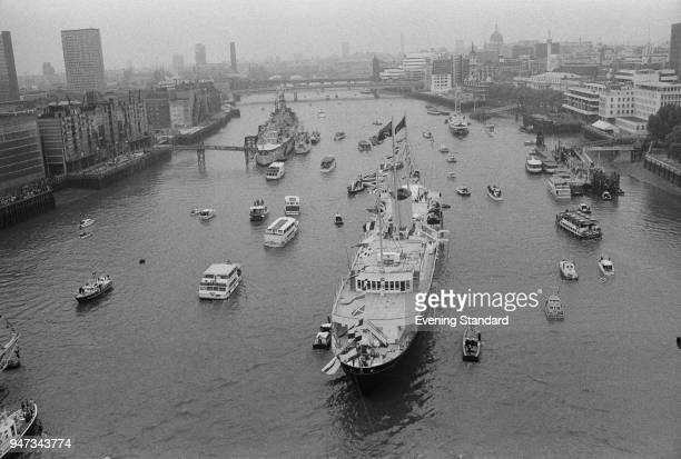 Royal Progress trip via boat down the River Thames from Greenwich to Lambeth London UK 9th June 1977