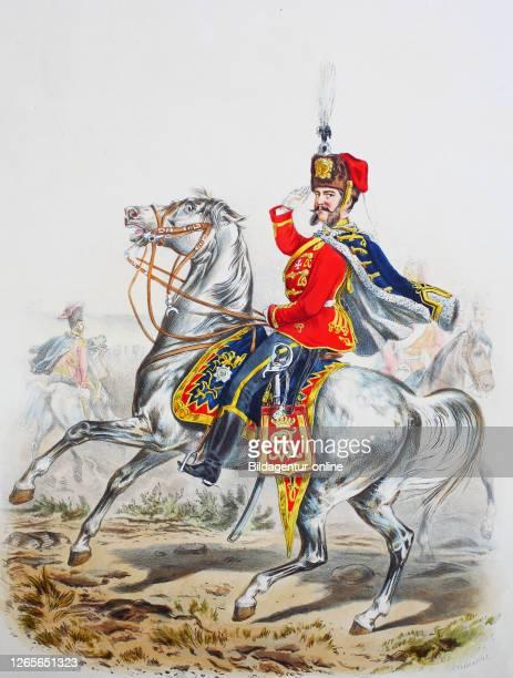 Royal Prussian Army Guards Corps Preußens Heer preussische Garde Garde Husaren Regiment Offizier Digital improved reproduction of an illustration...
