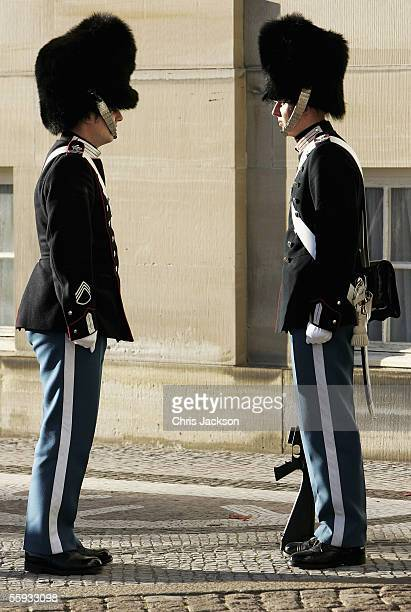 Royal soldiers are seen outside the Amalienborg Slot, home of the Danish Royal family since 1794, on October 16, 2005 in Copenhagen, Denmark. Crown...