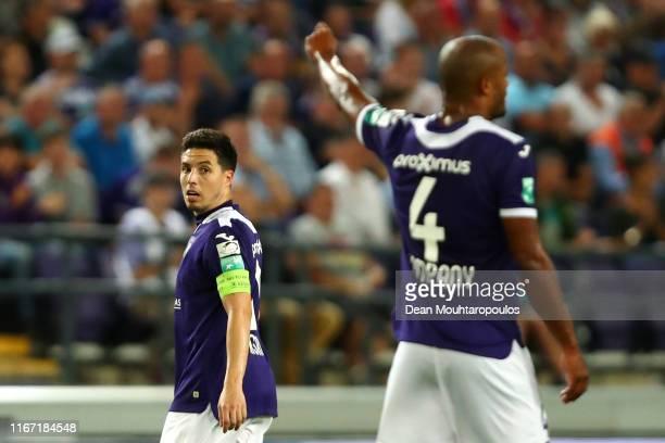Royal Sporting Club Anderlecht Head Coach / Player Manager, Vincent Kompany signals to captain, Samir Nasri during the Jupiler Pro League match...
