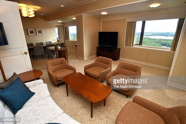 Royal Suite where US President Barack Obama stayed is seen during the press preview on June 5 2016 in Shima Mie Japan A presidential experience...